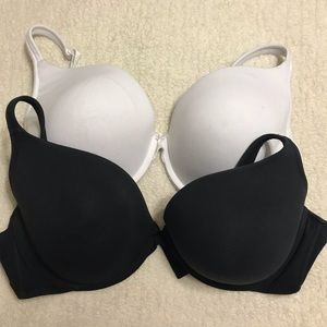 Cacique Cotton Boost Plunge Bras 48D, Lot of 2